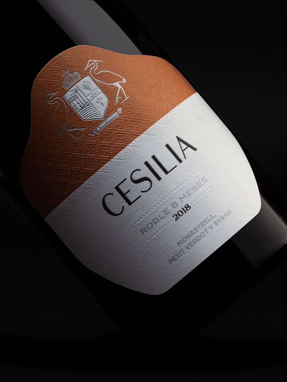 Detalle de etiqueta Cesilia Roble