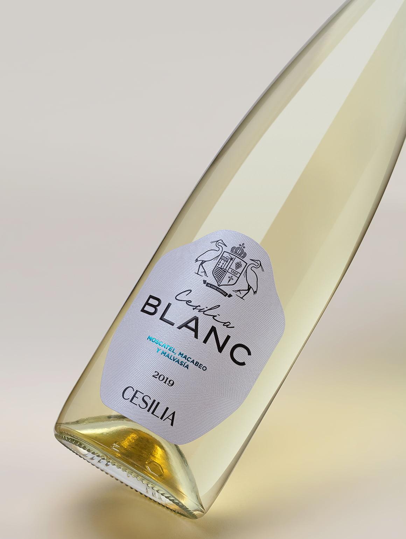 Etiqueta de botella de vino Cesilia Blanc